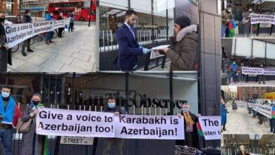 """Photo of Azərbaycanlılar """"The Guardian"""" nəşrinin binası qarşısında aksiya keçiriblər"""